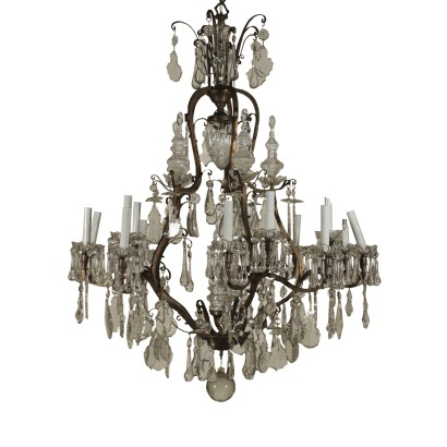 Large Chandelier Crystal Pendants Italy Early 1900s