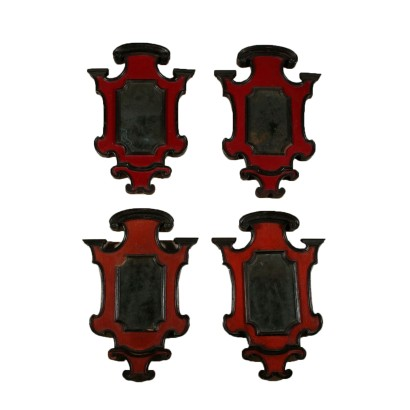 Set of Four Lacquered Small Mirrors Italy First Half of 1700s