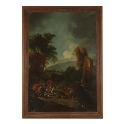 Large Landscape with Hunting Scene Oil on Canvas 18th Century