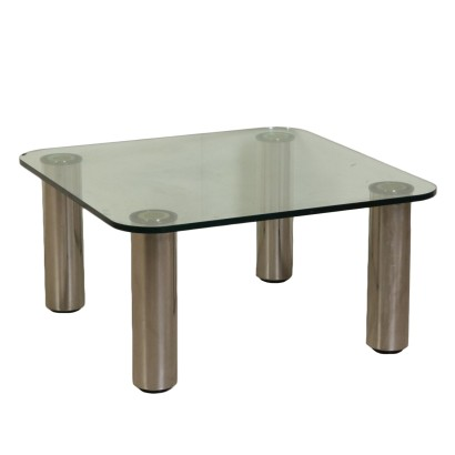 Coffee Table by Marco Zanuso Steel Glass Vintage Italy 1960s-1970s