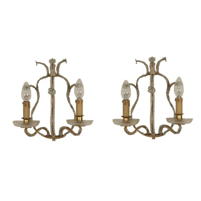 Pair of Sconces Two Lights Manufactured in Italy Mid 1900s