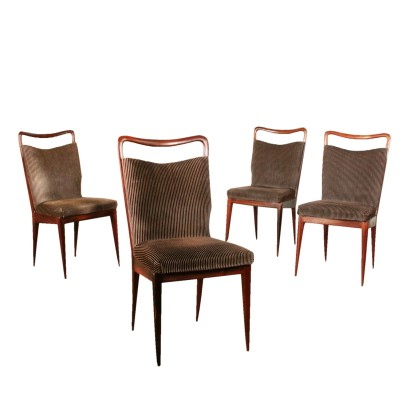 Set of Chairs for Isa Mahogany Velvet Vintage Italy 1950s
