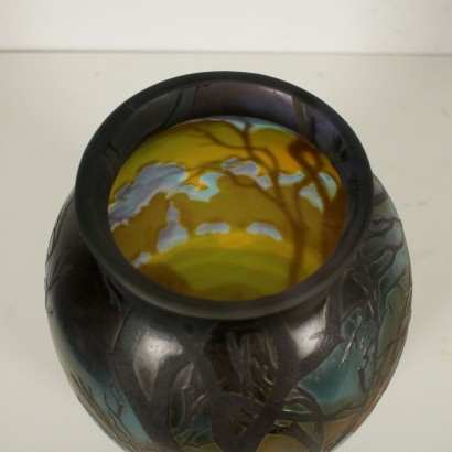 Galle Vase with Landscape France 20th Century