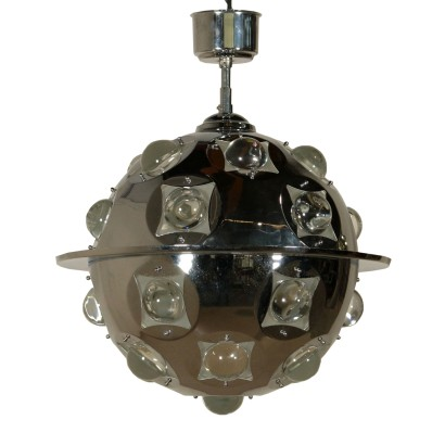 Ceiling Lamp by Oscar Torlasco Chromed Metal Glass Vintage Italy 1960s