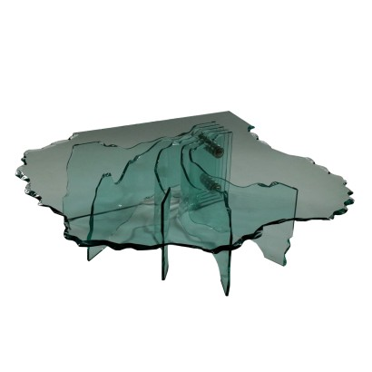 Shell Coffee Table by Danny Lane Crystal Vintage Italy 1980s