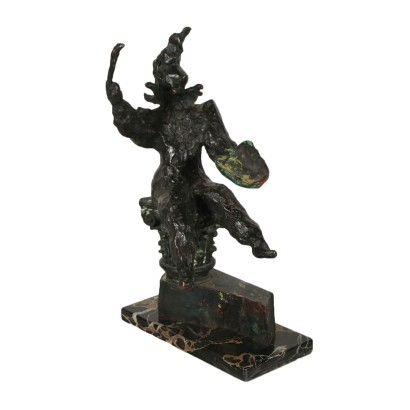 Jester with Palette and Brush Bronze Sculpture 20th Century