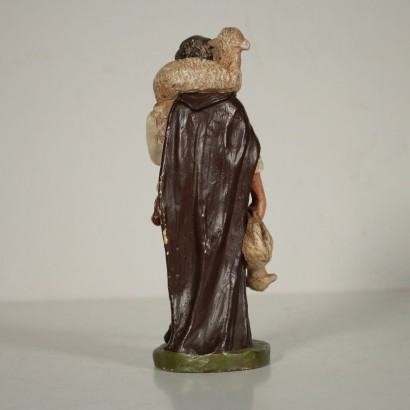 Nativity Statue Shepherd with Sheep Gypsum France 19th Century