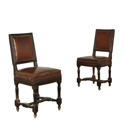 Pair of Walnut Chairs Italy Early 19th Century