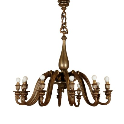 Chandelier Brass Casting Vintage Italy 1940s