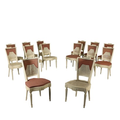 Set of 14 Revival Chairs Neoclassical Style Italy Mid 1900s