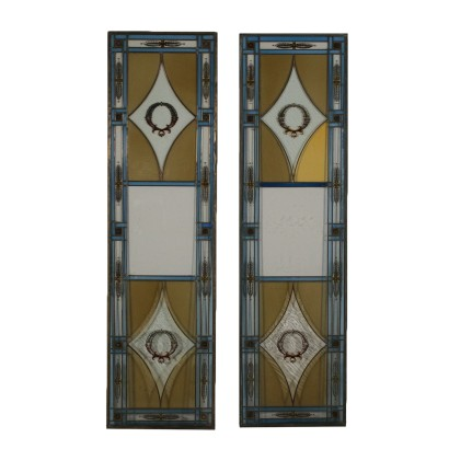 Pair of Colored Decorated Glass Windows Italy First Quarter of 1900s