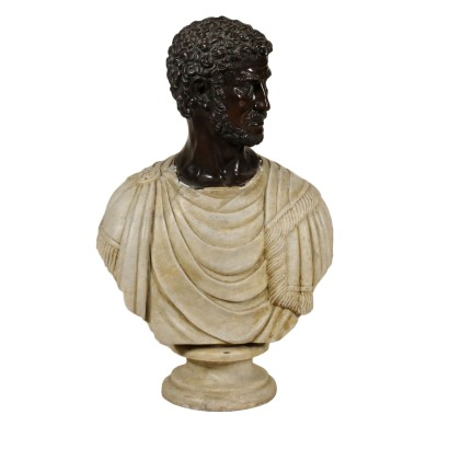 Marble Bust with Bronze Head Italy 20th Century