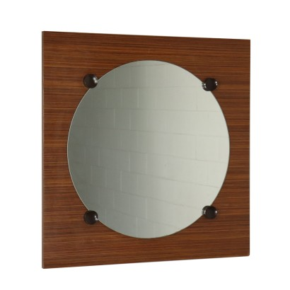 Wall Mirror on a Teak Veneered Panel Vintage Italy 1960s