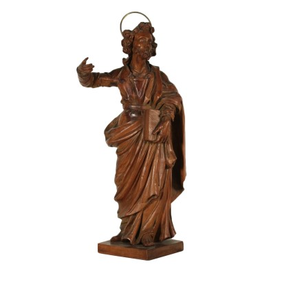Carved Swiss Pine Sculpture Depicting a Saint Italy 18h Century