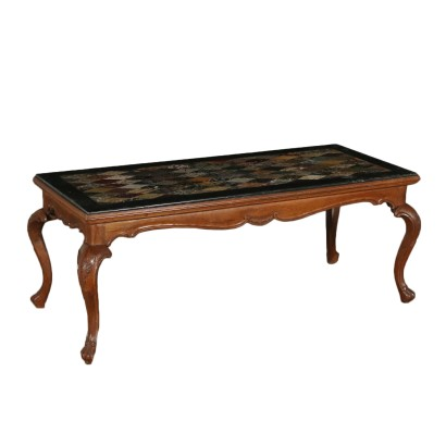 Walnut Coffee Table Marble Top Italy First Half of 1900s