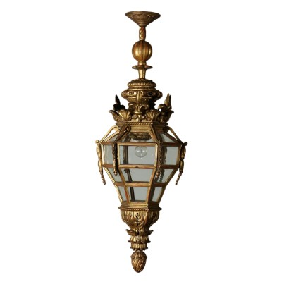 Carved Mixtilinear Lantern Gilded Wood Italy Early 1900s