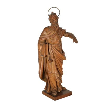 Carved Swiss Pine Sculpture Depicting a Saint Italy 18th Century