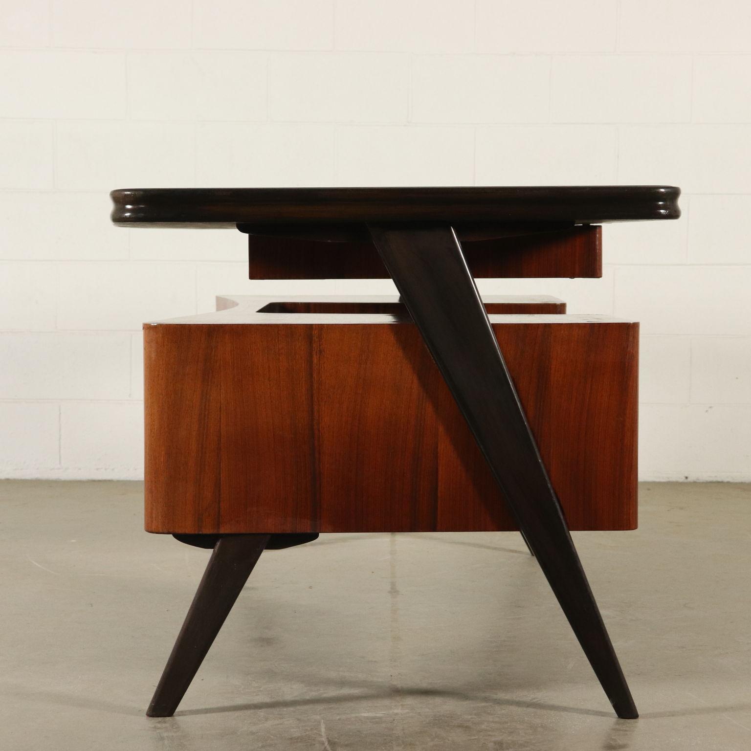 Scrivania Design Anni 50.Desk Rosewood Veneer Glass Vintage Italy 1950s Tables Modern Dimanoinmano It