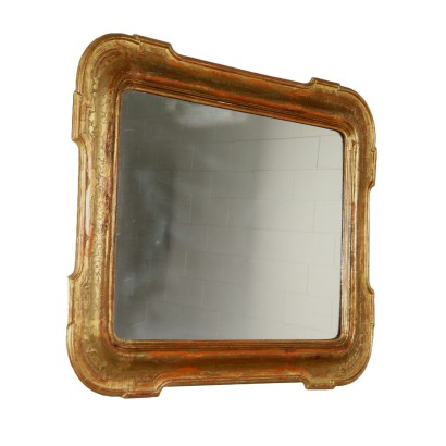 Shaped Cabaret Mirror Gilded Wood Italy Mid 1800s