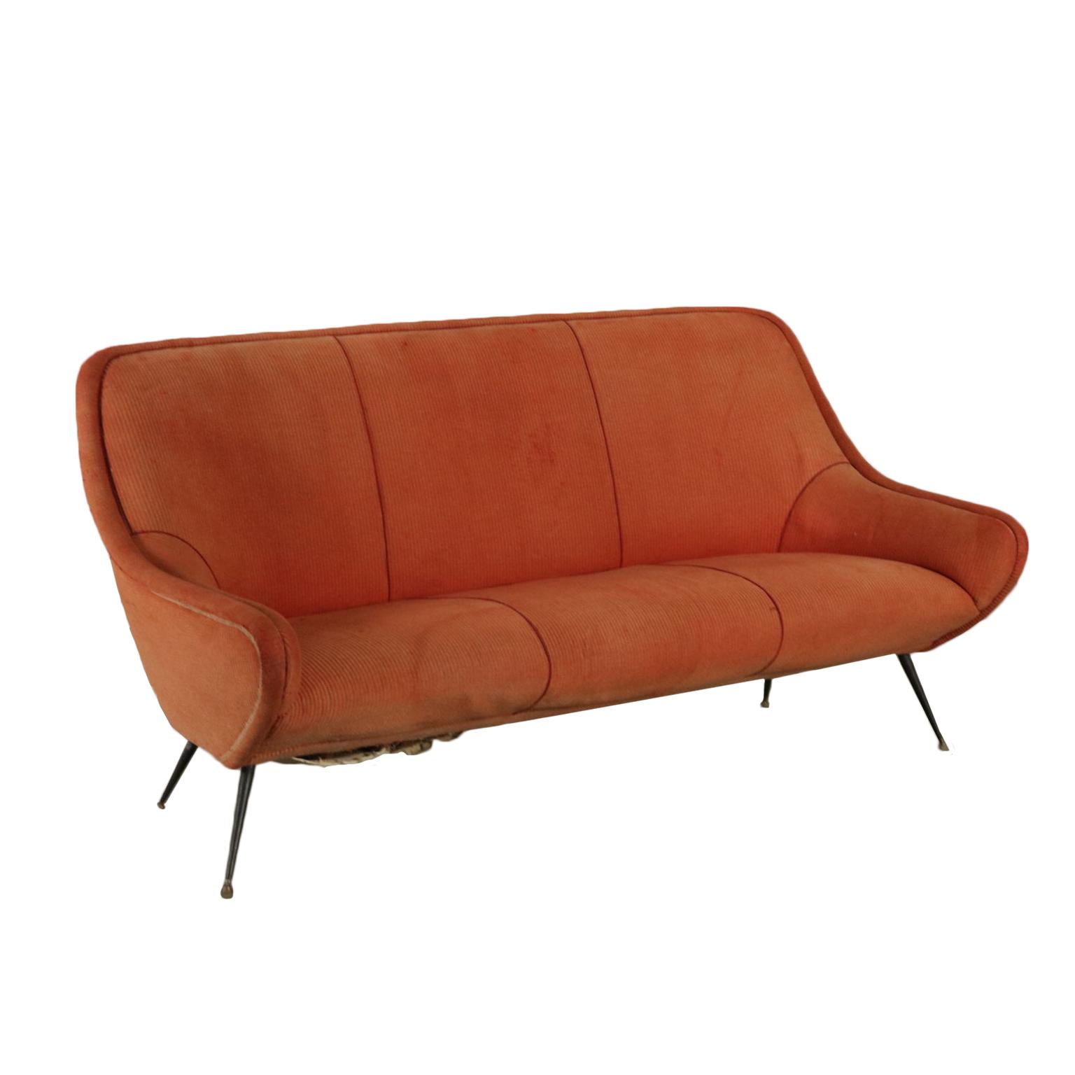 Sofa fabric upholstery foam padding vintage italy 1950s 1960s