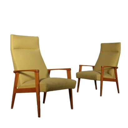 Pair of Armchairs Beech Fabric Upholstery Vintage Italy 1950s-1960s