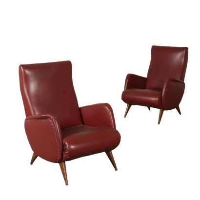 Pair of Armchairs Foam Leatherette Vintage Manufactured in Italy 1950s