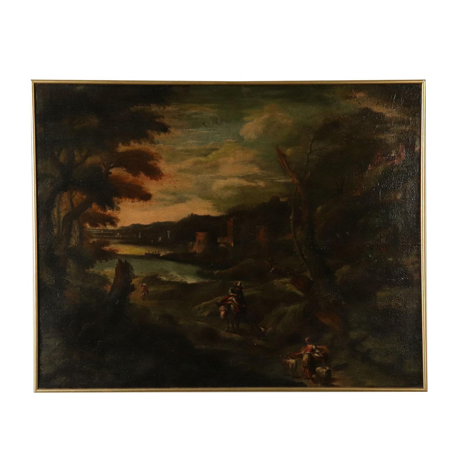 Landschaft Mit Gebäuden Und Figuren Antike Gemälde Kunst