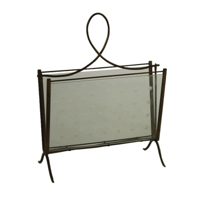 Magazine Rack Decorated Glass Brass Vintage Italy 1950s