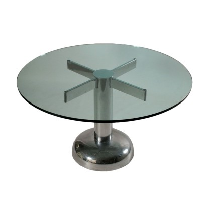 Round Table Chromed Metal Glass Top Vintage Italy 1960s-1970s