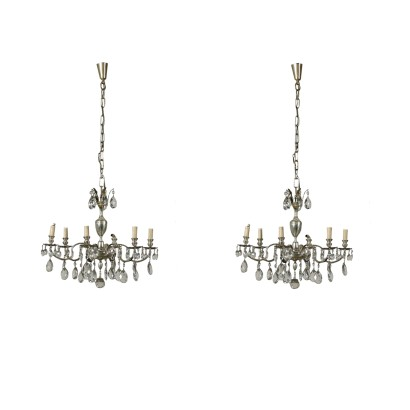 Pair of Chandeliers Six Arms Italy Mid 20th Century
