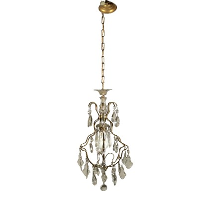Glass and Brass Chandelier Italy First Half of 1900s