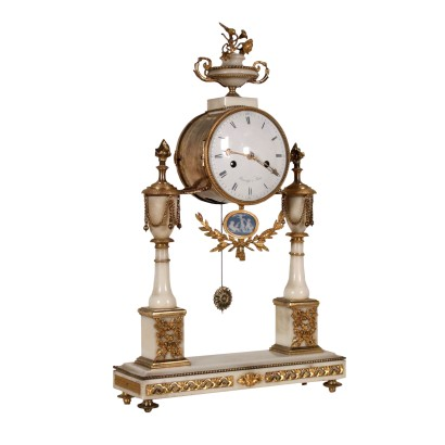 Table Clock Bouchy a Paris White Marble France 18th Century