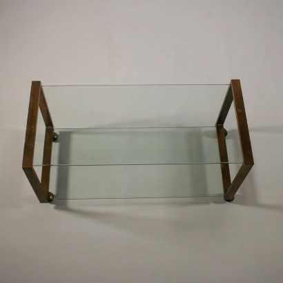 Coffee Table Glass Brass Vintage Italy 1970s