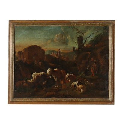 Landscape with Shepherd and Herd Oil on Canvas 17th Century