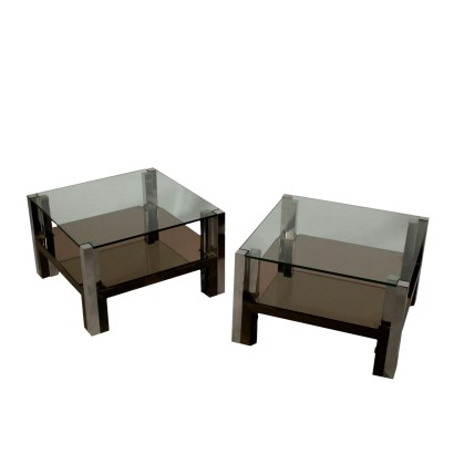 Pair of Tables Steel Glass Vintage Italy 1970s