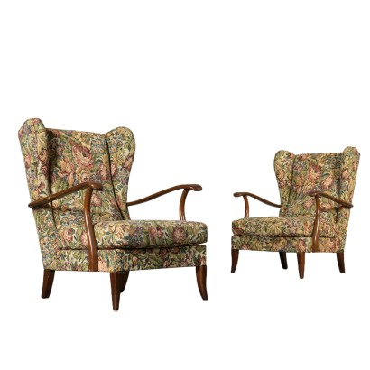 Pair of Armchairs Stained Beech Vintage Italy 1940s-1950s
