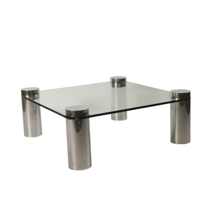 Coffee Table Chromed Metal Glass Vintage Italy 1970s