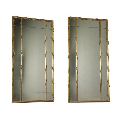 Pair of Mirrors Part of Wainscoting Gilded Wood Italy 20th Century