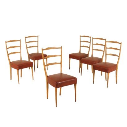 Set of Chairs Beech Leatherette Vintage Italy 1950s-1960s