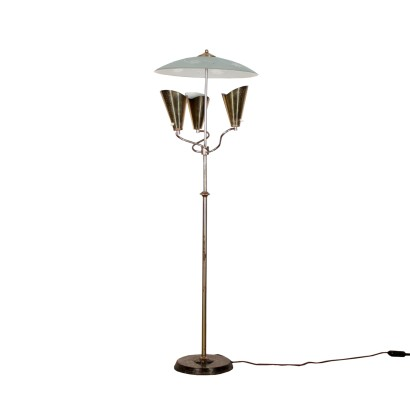 Floor Lamp Chromed Metal Glass Vintage Italy 1960s