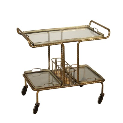 Service Cart Brass Glass Vintage Manufactured in Italy 1950s