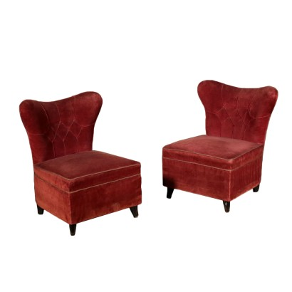 Pair of Armchairs Velvet Upholstery Vintage Italy 1940s