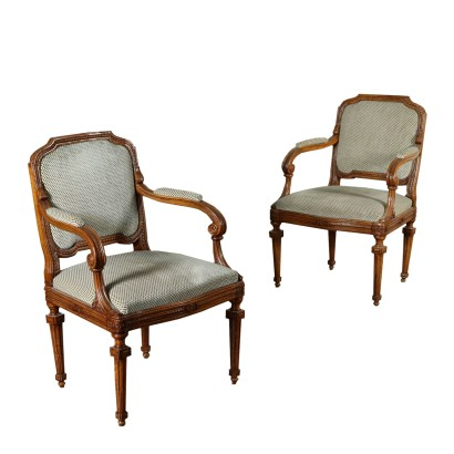 Pair of Walnut Armchairs Italy Last Quarter of 1700s