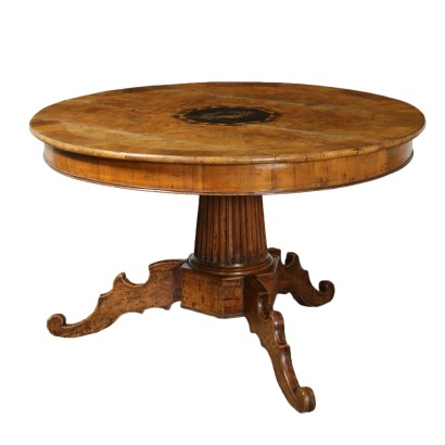 Round Table with Inlays Elm Burl Italy First Half of 1800s