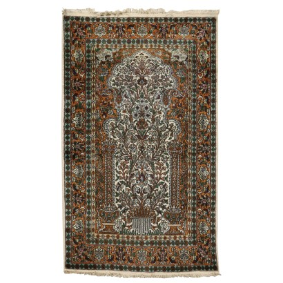 Kashmir Carpet India Wool Cotton Silk 1990s