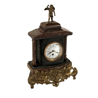 Antique Table Clock Bronze Marble 20th Century