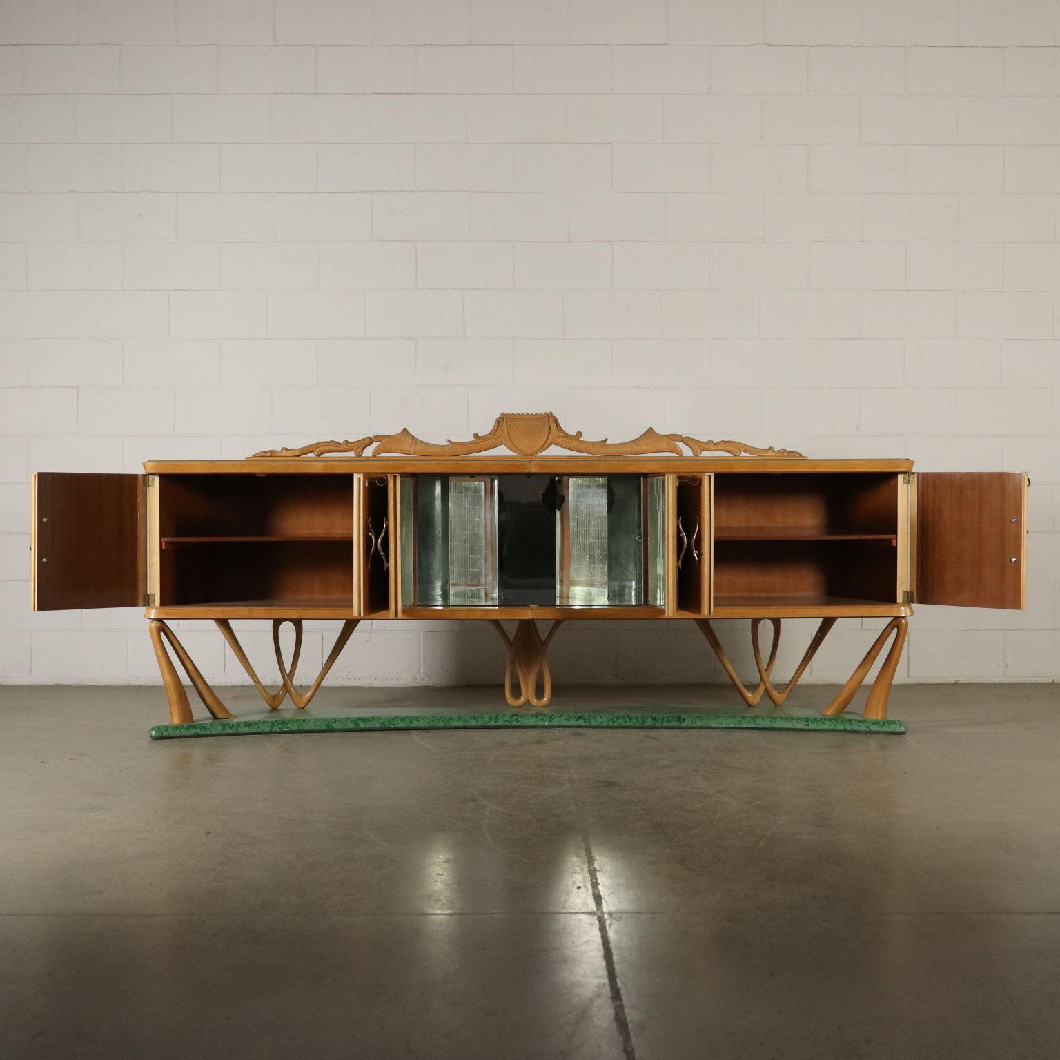 Büfett Möbel Wurzelholz furniert Glas Messing Italien 50er Jahre.