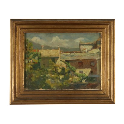 Landscape by Luigi Bocca Glimpse of Village 20th Century