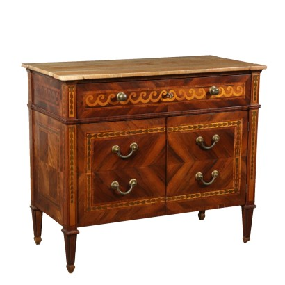 Commode Néo-Classical Erable Bois de Rose Italie Fin '700-'900