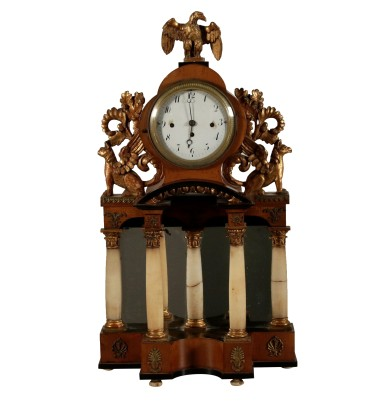 Table Portico Clock Maple Bronze Alabaster 19th Century